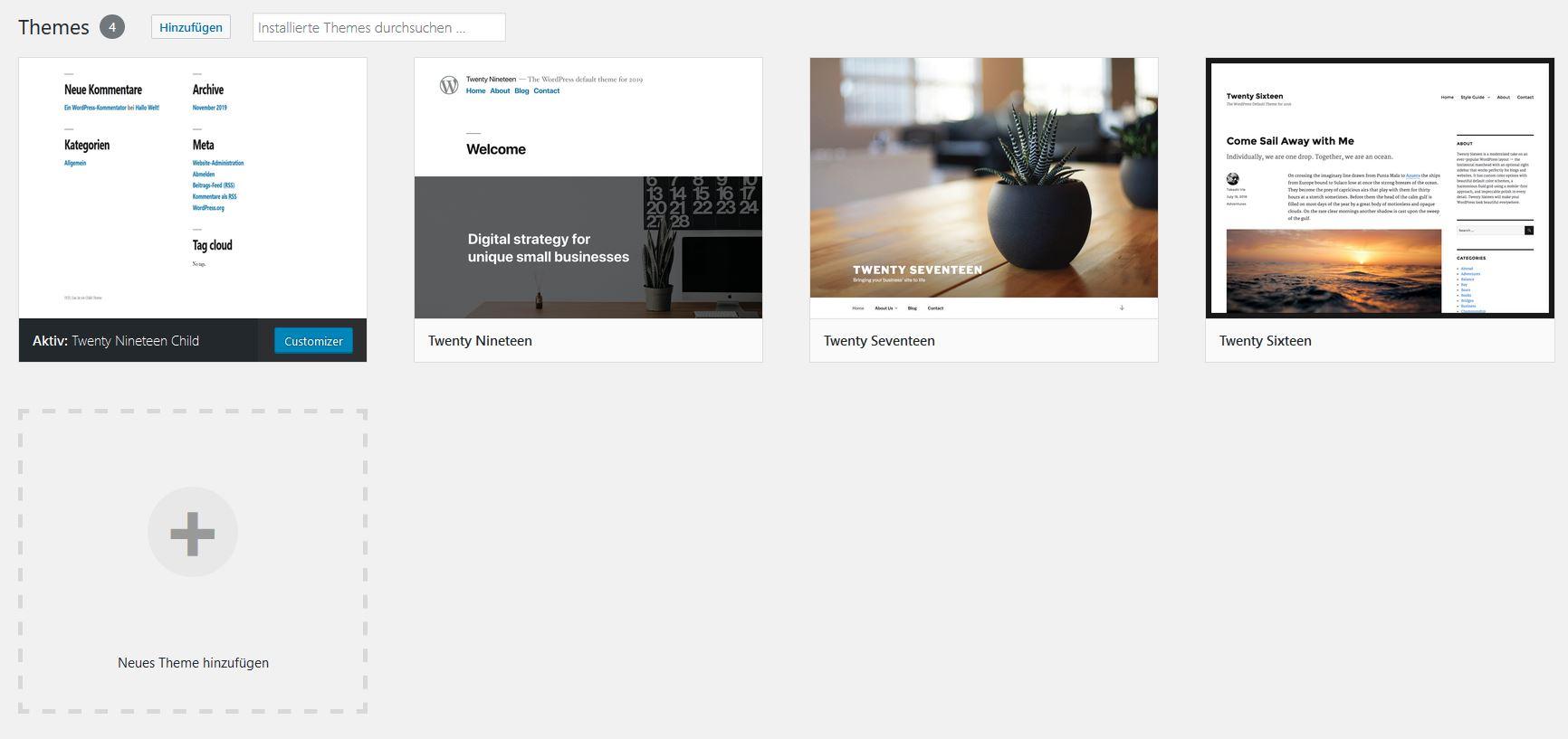 Vorschaubild des WordPress-Child-Themes verändern