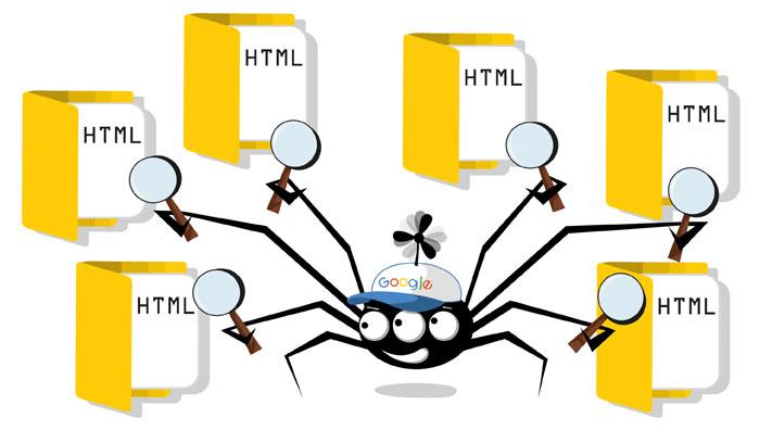 Schema des Google-Crawlers bei der Arbeit