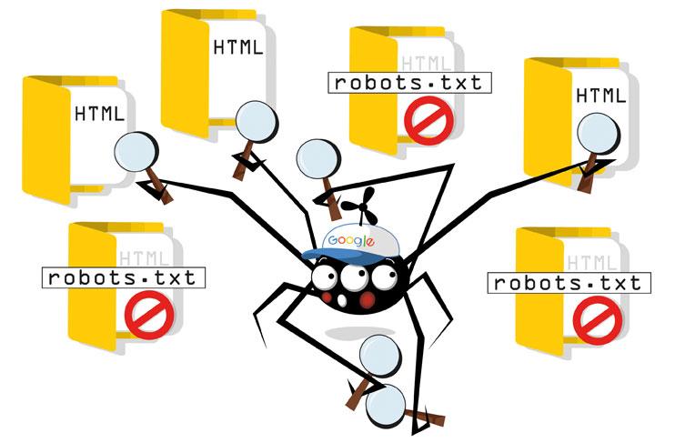 Schema des Google-Crawlers mit der robots-txt
