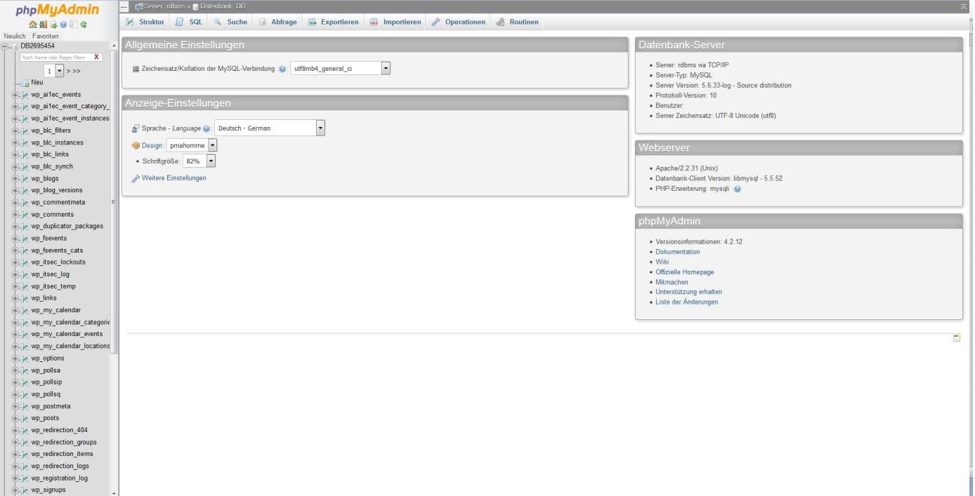 benutzeroberfläche phpMyAdmin