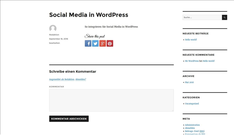Beispiel für einen Post in WordPress mit Social-Media-Buttons