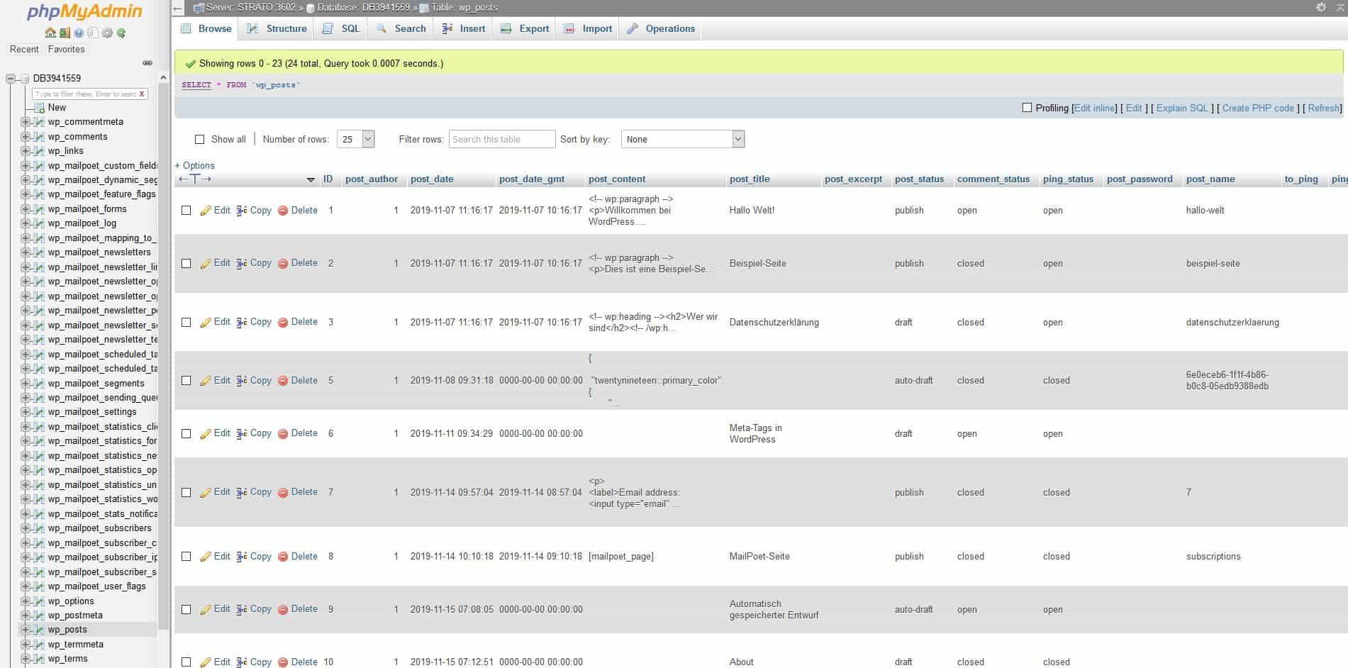 Eine Übersicht in der WordPress-Datenbank über alle gespeicherten Posts