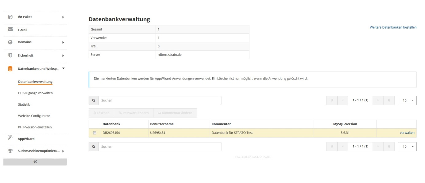 Die Datenbankübersicht einer WordPress-Datenbank bei STRATO