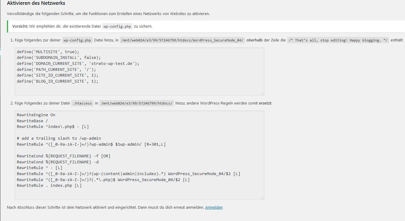 WordPress Multisite: Code für wp.config.php und .htaccess
