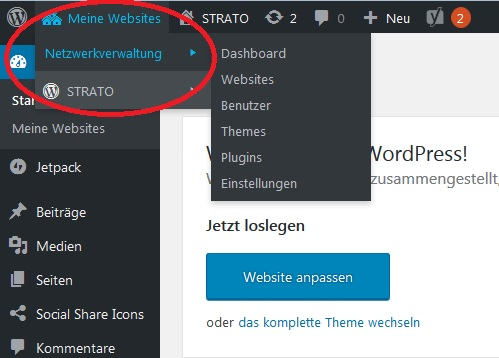 WordPress-Multisite-Installation abgeschlossen