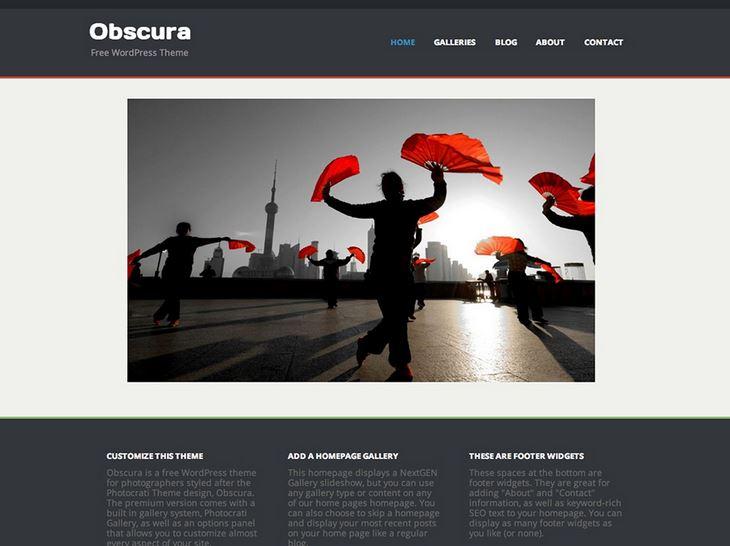 Das Theme Obscura eignet sich gut für WordPress-Fotoblogs