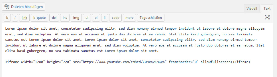 WordPress-Video-Plug-in: Einbettungscode von YouTube verwenden