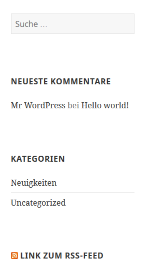 Sidebar einer WordPress-Website mit RSS-Feed