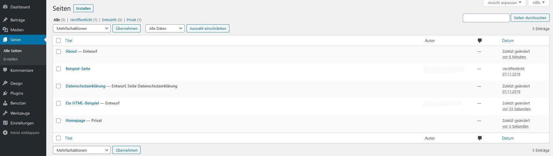 """WordPress-Seiten bearbeiten: Übersicht """"Alle Seiten"""""""