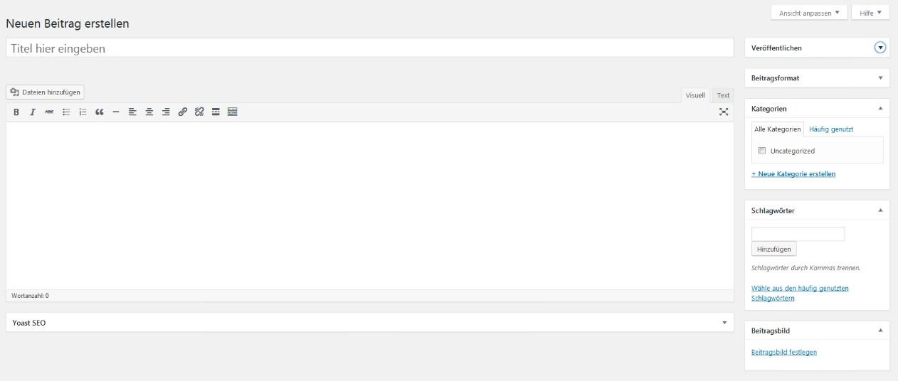 Beitragsfenster, über das man mit WordPress-Tags Beiträge mit Schlagwörtern versieht