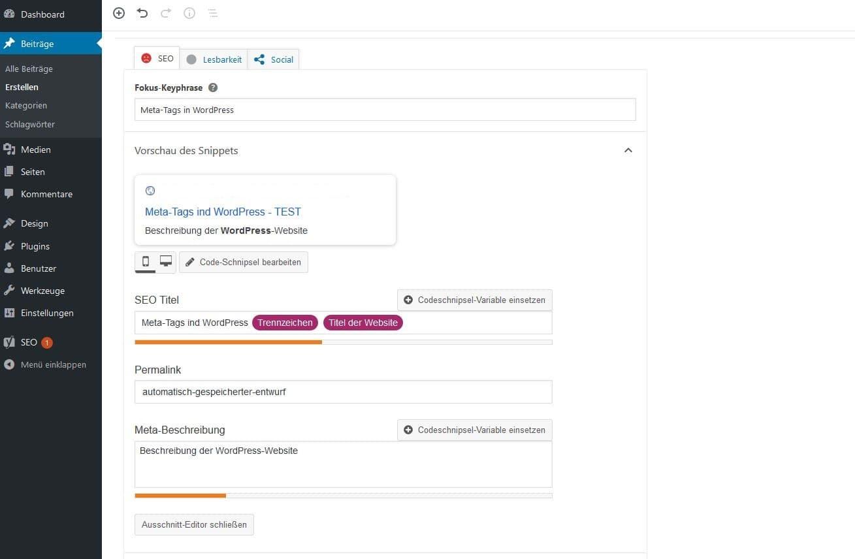 Eingabe von WordPress-Meta-Tags mit dem Plug-in Yoast SEO