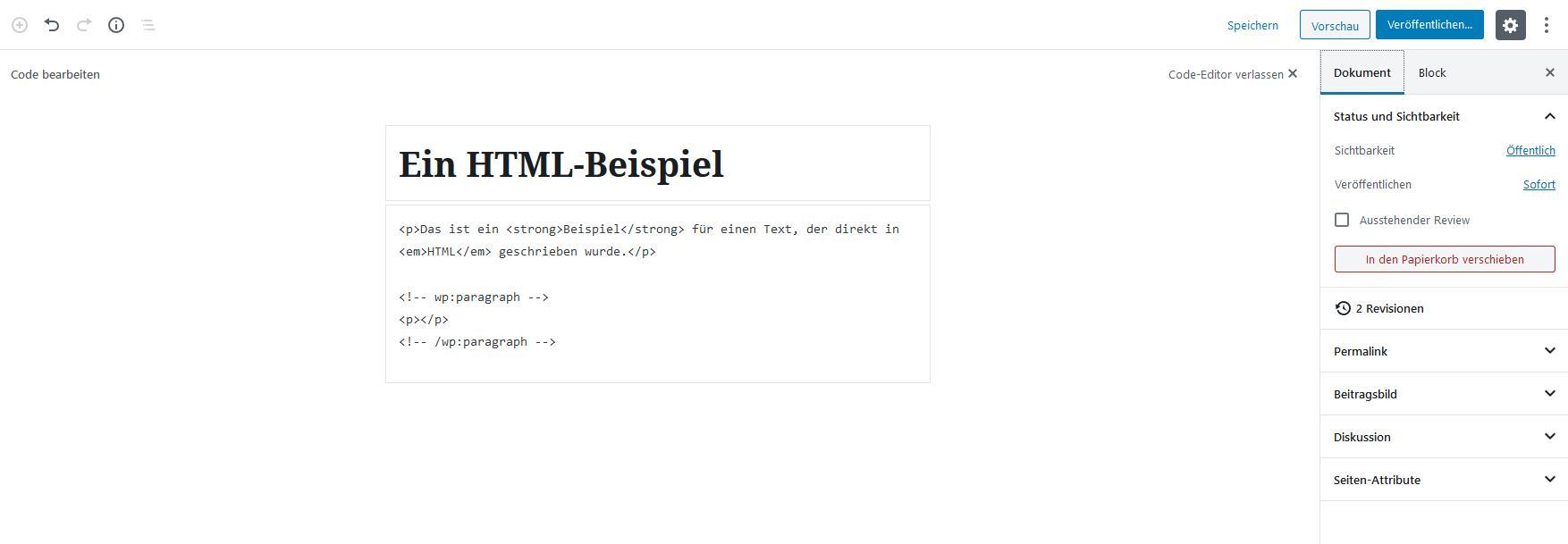 WordPress-Editor: HTML-Ansicht mit Inhalt
