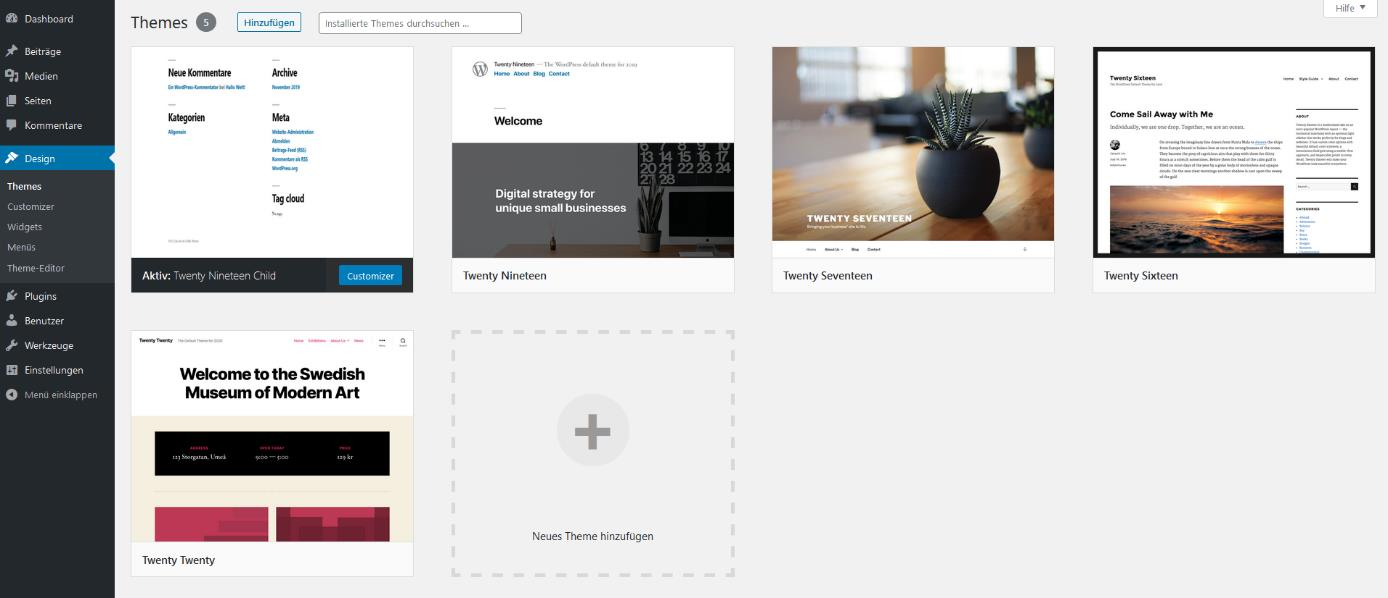 WordPress-Tutorial: Das Theme-Menü