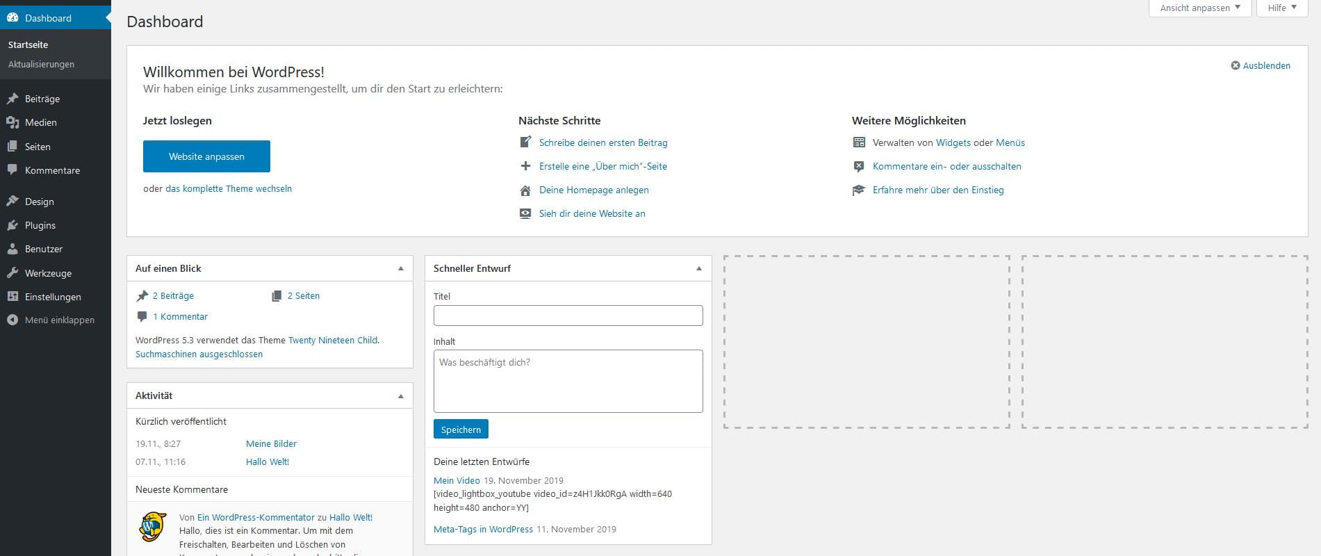 WordPress-Tutorial: Das Dashboard