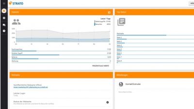 STRATO Homepage-Baukasten: Alle Statistiken auf einen Blick – im mobilen Dashboard