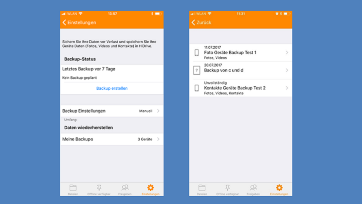 Screenshot Geräte Backup iOS
