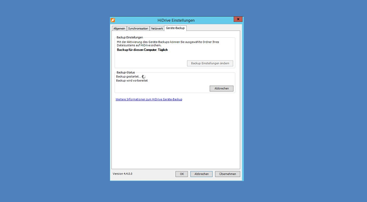 Screenshot Geräte Backup Windows