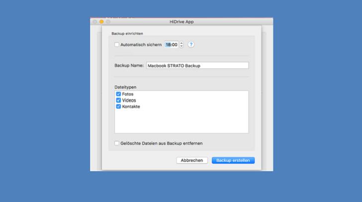 Screenshot Geräte Backup Mac