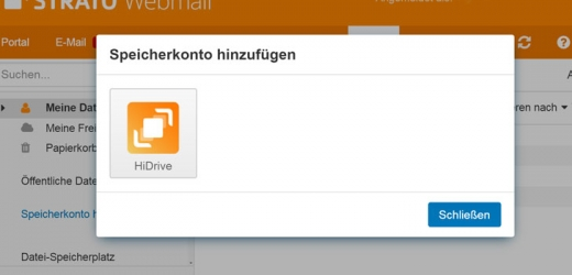 HiDrive Integration in Webmail
