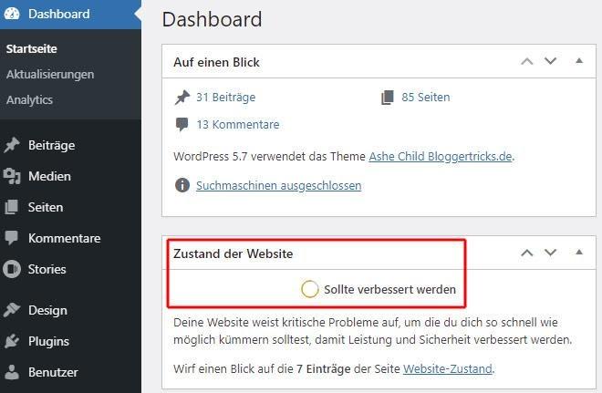 Zustand der Website im WordPress Dashboard