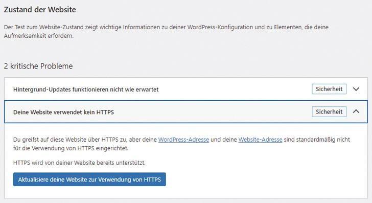 Hinweis, dass die Website kein HTTPS verwendet