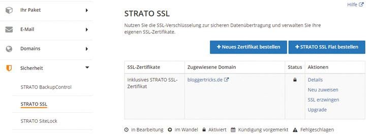Screenshot zeigt, wie SSL Zertifikat bei STRATO aktiviert wurde