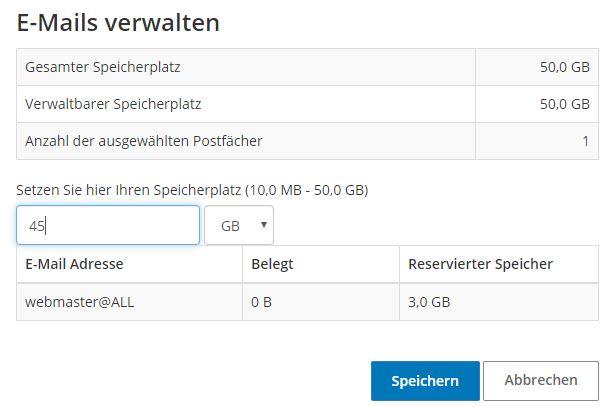 Screenshot Flexibler Mailspace STRATO