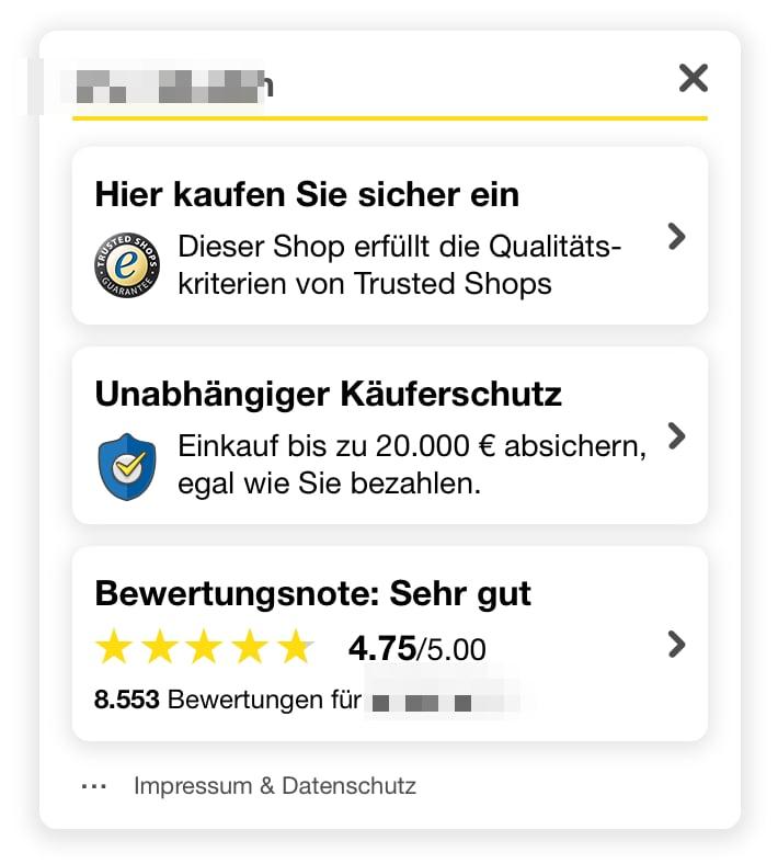 Beispielhafte Übersicht eines Online-Shops, der mit Trusted Shops arbeitet: Qualitätssiegel, Käuferschutz, Bewertungsnote.