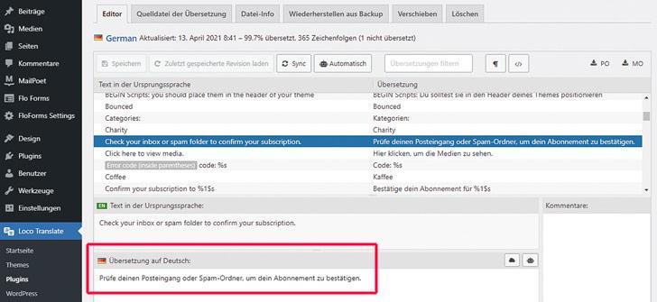 Screenshot: Die Übersetzung auf Deutsch wird bei Loco Translate in das entsprechende Feld eingetragen.