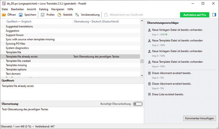 Screenshot: Auswahl bestimmter Textsstellen oder Segmente, die anschließend im gleichen Fenster übersetzt werden.