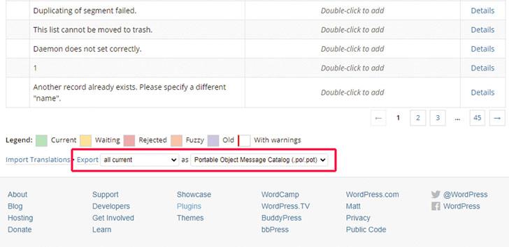 Screenshot: Exportieren von Sprachdateien, die anschließend bei Poedit bearbeitet werden sollen.
