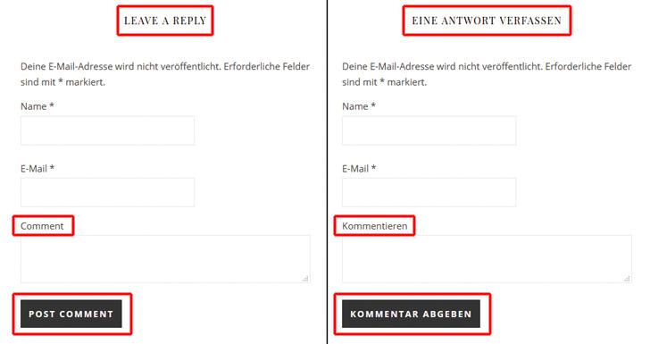 Beispiel, das zeigt, wie sich der Kommentarbereich eines Blogbeitrages durch die Übersetzung einzelner Begriffe verändert hat.