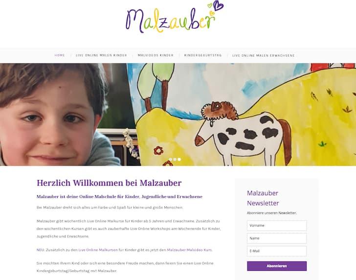 Screenshot der STartseite von Malzauber. Zeigt ein lächelndes Kind und ein Bild von einem Pferd.