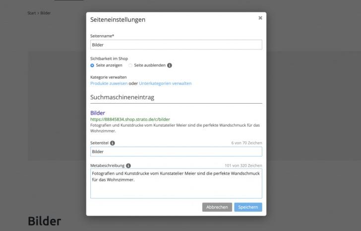 Für Suchmaschinen optimierte Beschreibung des Webshops.