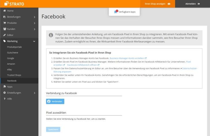 Screenshot des Menüs für Facebook im Webshop Now
