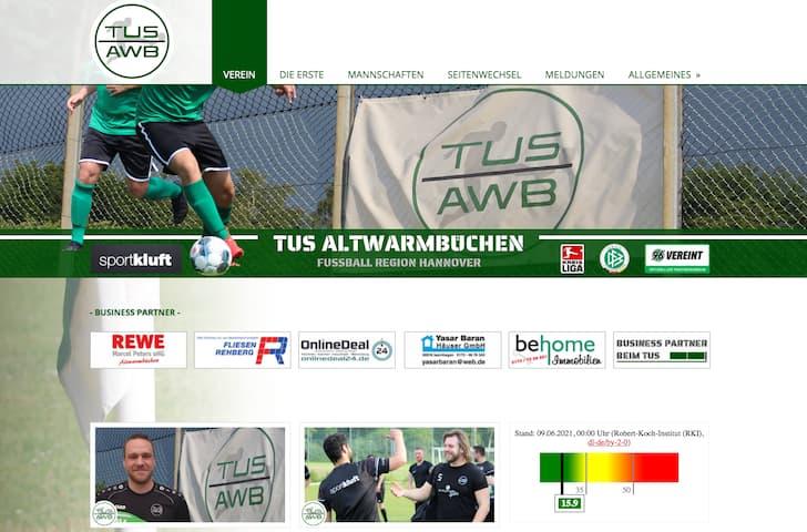 Screenshot der Website vom TUS Altwarmbüchen