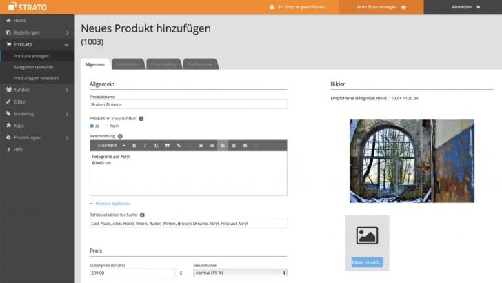 Beispielhaft Produktbeschreibung im STRATO Webshop: Broken Dreams. Fotografie auf Acryl. 80 mal 60 Zentimeter.