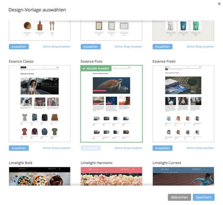 Verschiedene Designvorlagen für den Webshop für Kunstwerke.