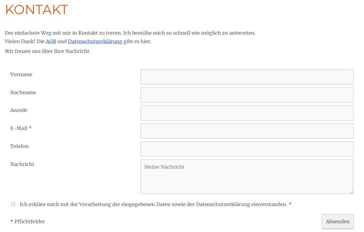 Screenshot eines rechtssicheren Kontaktformulars. Nur die Mailadresse ist ein Pflichtfeld, Datenschutzerklärung wird verlinkt, man muss sich mit ihr einverstanden erklären.