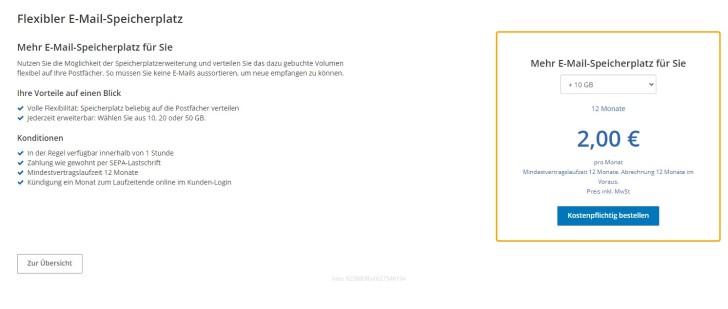 Screenshot: Speicher individuell um 10, 20 oder 50 Gigabyte erweitern