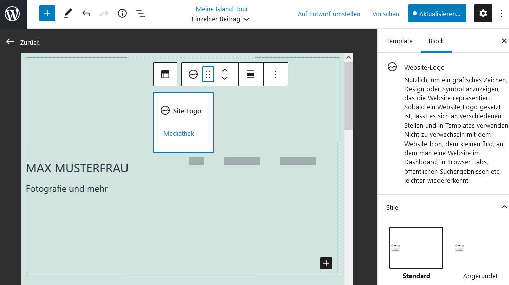 Screenshot vom neuen Vorlagen-Editor bei WordPress 5.8