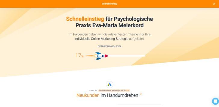 Screenshot marketingRadar: Schnelleinstieg für beispielhaftes Unternehmen: Psychologische Praxis Eva-Maria Meierkord