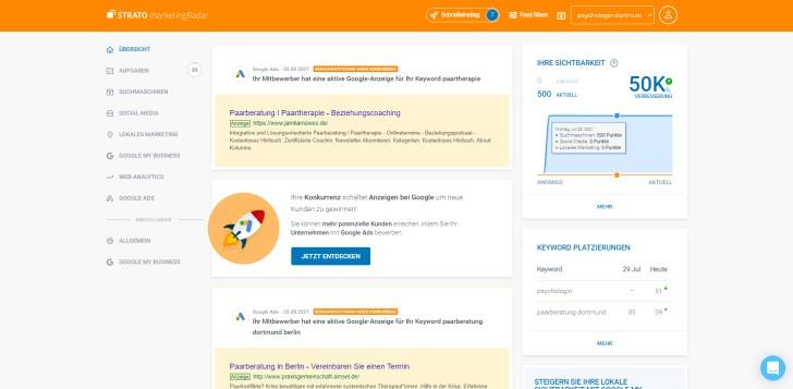 Screenshot marketingRadar: Übersicht auf der Startseite.