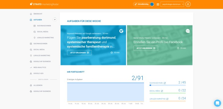Screenshot marketingRadar: wöchentliche Aufgaben für mehr Sichtbarkeit.