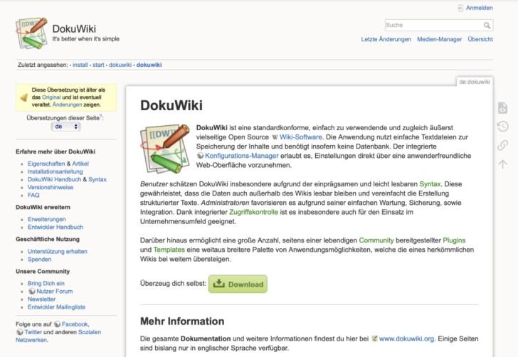 Screenshot von der Nutzeroberfläche von DokuWiki.