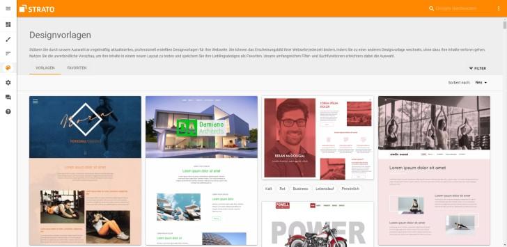 Screenshot: Designvorlagen vom Strato Homepage-Baukasten
