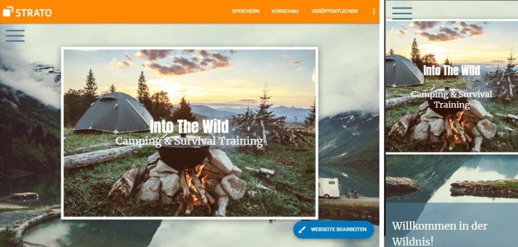 Zu sehen sind zwei nebeneinanderstehende Screenshots der gleichen Homepage, links als Desktop-Version, rechts als Mobilversion