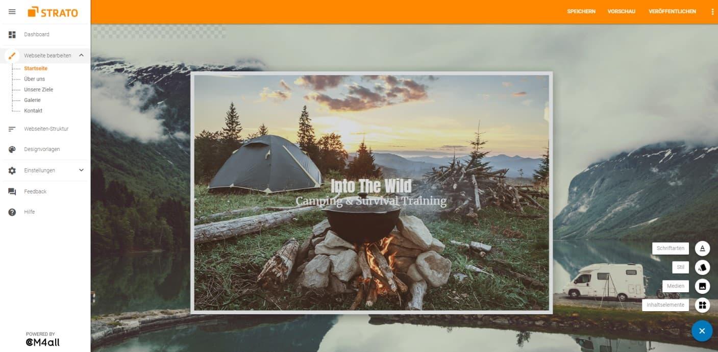 Screenshot vom ausgeklappten Flyout-Menü des Homepage-Baukastens
