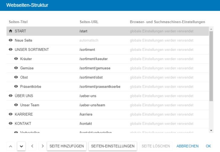 Screenshot: Beispielhafte Webseiten-Struktur im Strato Homepage-Baukasten