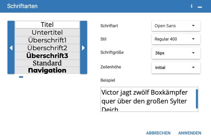 Screenshot: Globales Menü der Schriftarten im Strato Homepage-Baukasten